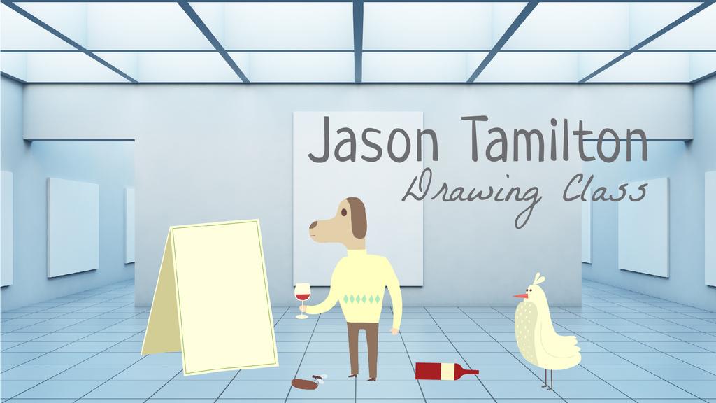 Dog character spilling wine on canvas — Maak een ontwerp