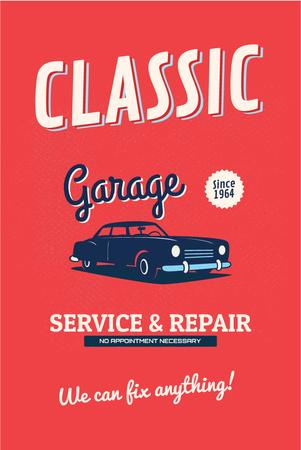 Garage Services Ad with Vintage Car in Red Pinterestデザインテンプレート