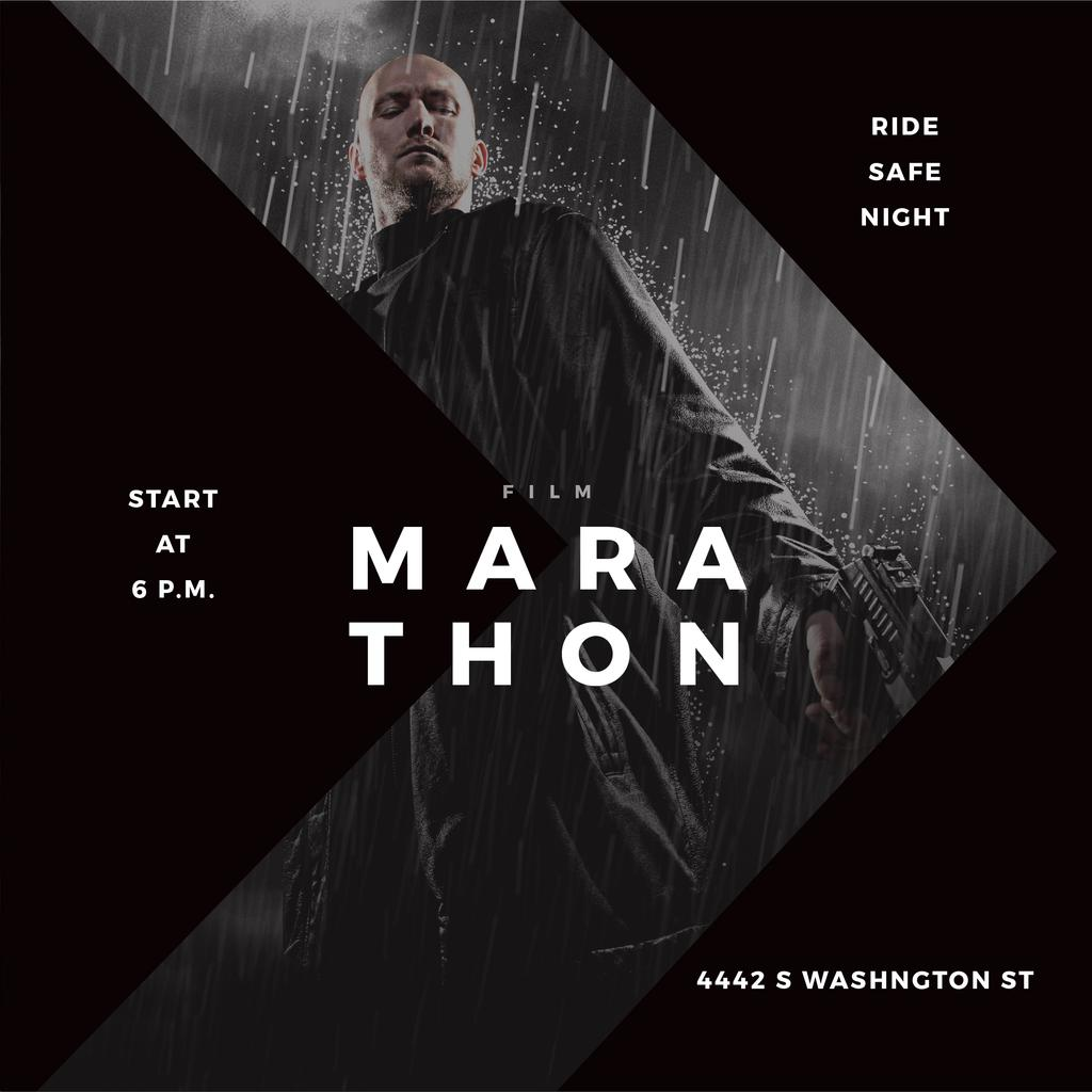Film Marathon Ad Man with Gun under Rain — Crear un diseño
