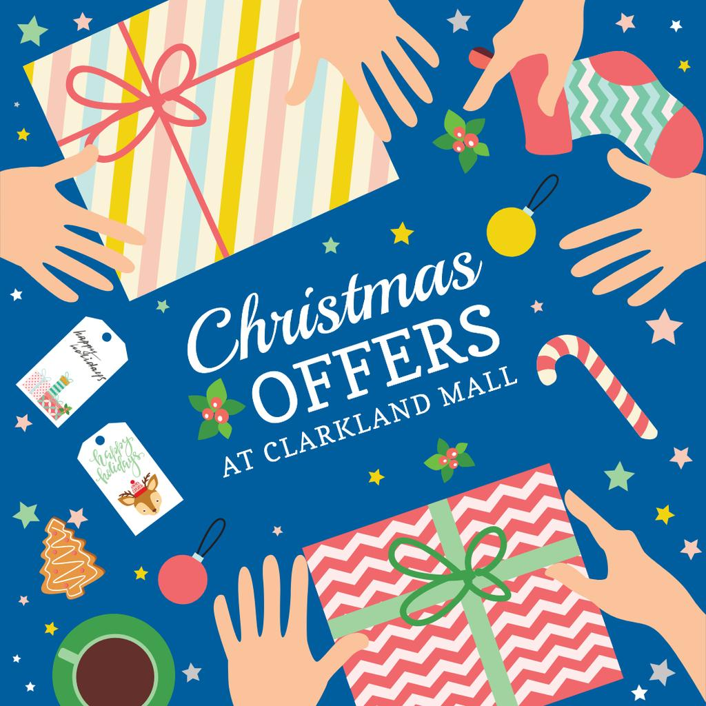 Christmas Sale Gifts with Bows in Blue Instagram AD – шаблон для дизайну