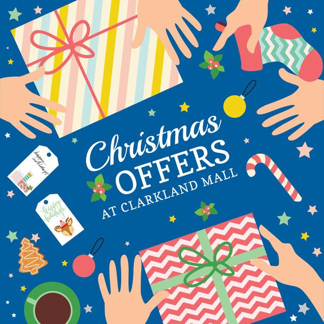 Plantilla de diseño de Christmas Sale Gifts with Bows in Blue Instagram AD