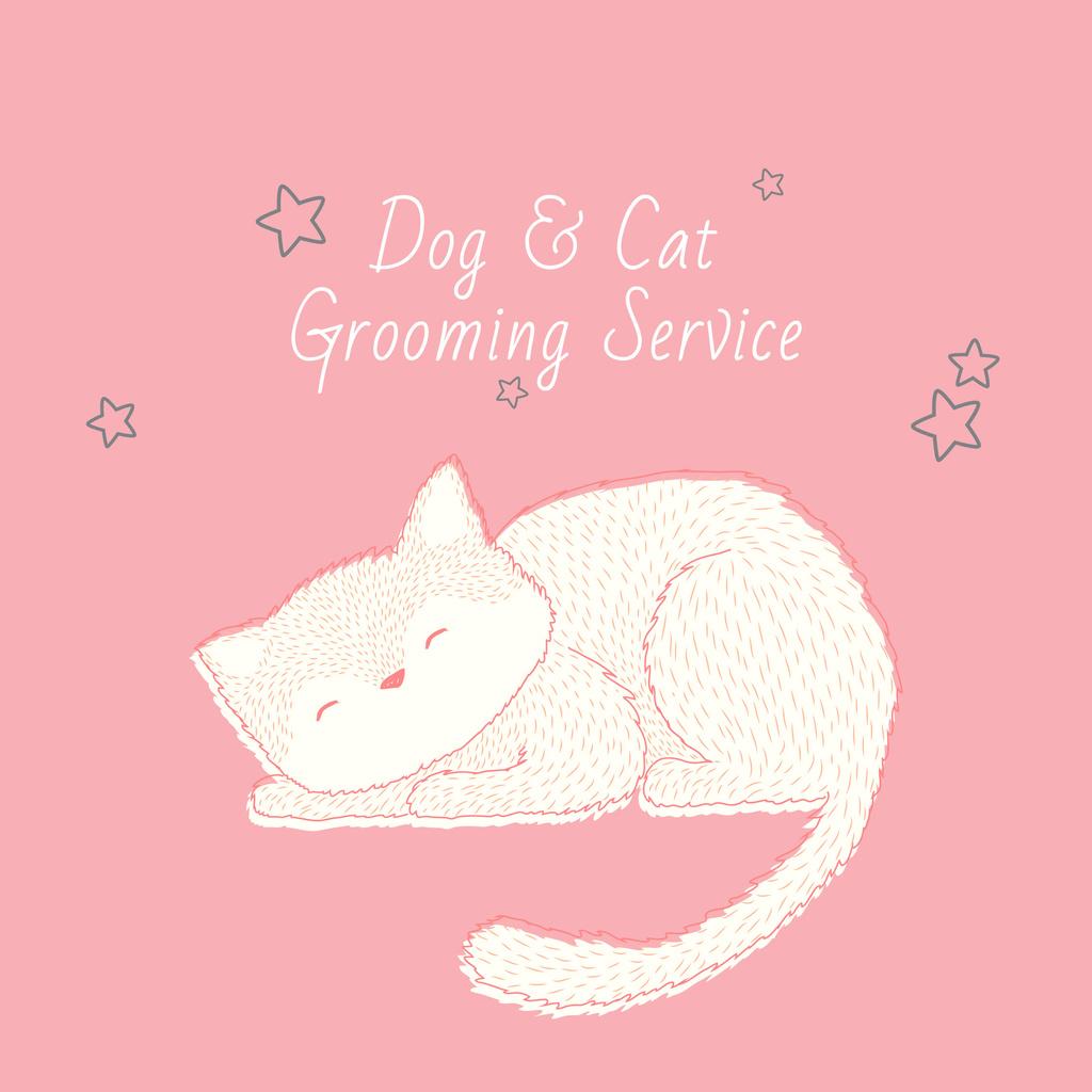 Grooming Service with Cute Cat Sleeping in Pink — Создать дизайн