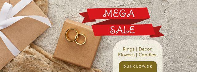 Ontwerpsjabloon van Facebook cover van Wedding Store Sale with Golden Rings