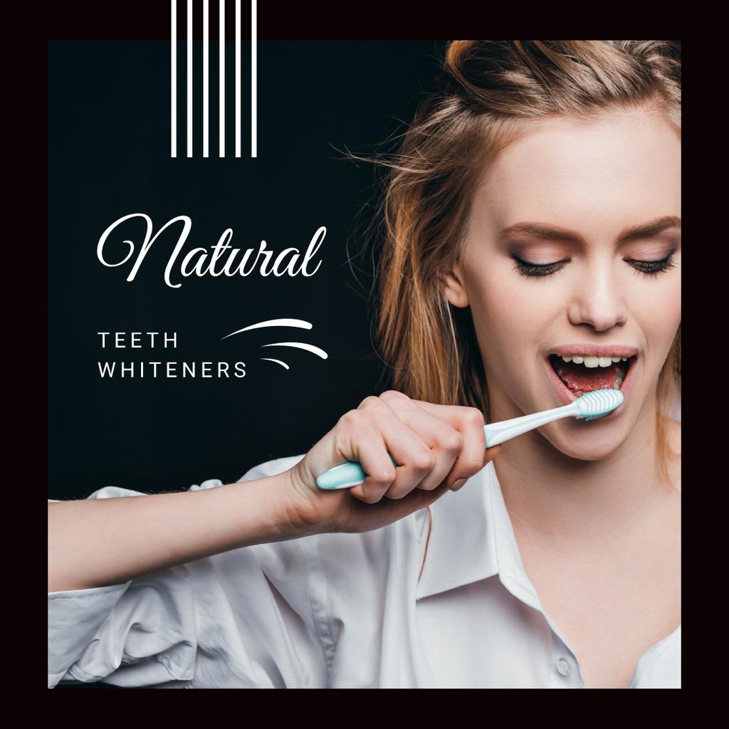 Modèle de visuel Woman Brushing her Teeth - Instagram AD
