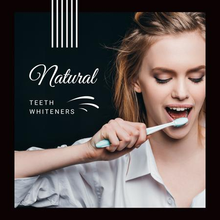Woman Brushing her Teeth Instagram AD Modelo de Design