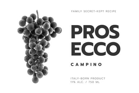 Template di design Wine ad with grapes in black Label