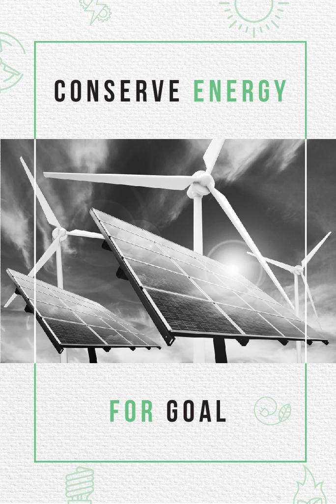 Green Energy Wind Turbines and Solar Panels | Pinterest Template — Crear un diseño