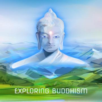 Buddha image over mountains landscape