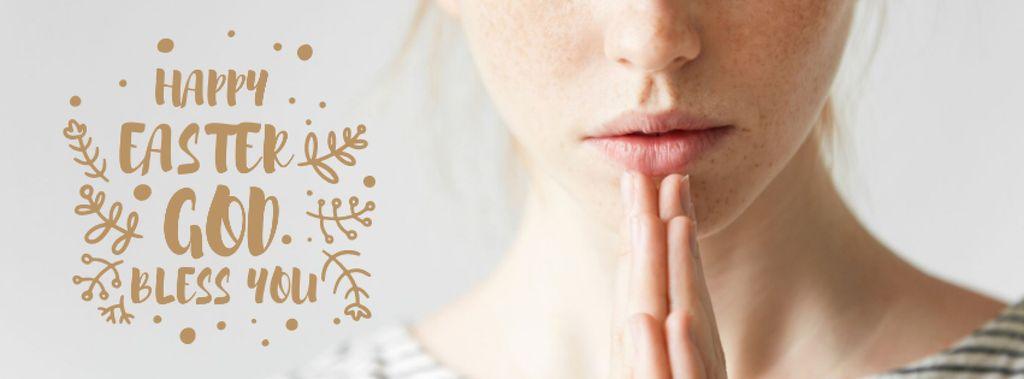 Young woman praying on Easter — Crear un diseño