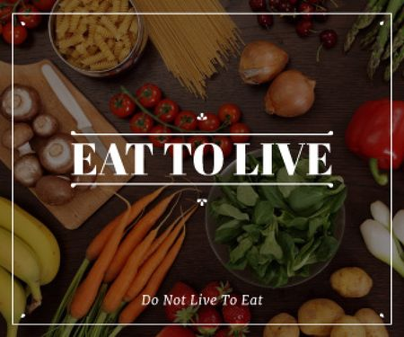 eat to live poster with fresh ripe vegetables  Large Rectangleデザインテンプレート