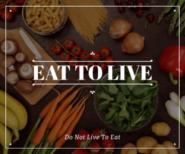 Plantilla de diseño de eat to live poster with fresh ripe vegetables  Large Rectangle