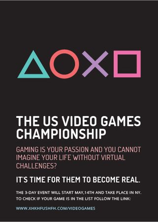 Plantilla de diseño de Video Games Championship announcement Flayer