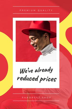 Plantilla de diseño de Stylish man in red hat Pinterest