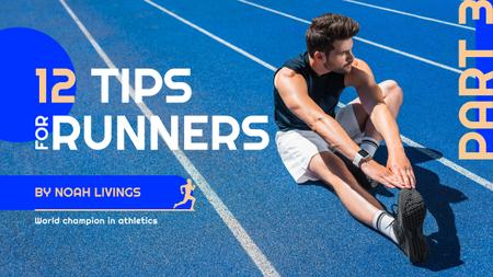 Modèle de visuel Running Tips Sportsman Training at the Stadium - Youtube Thumbnail