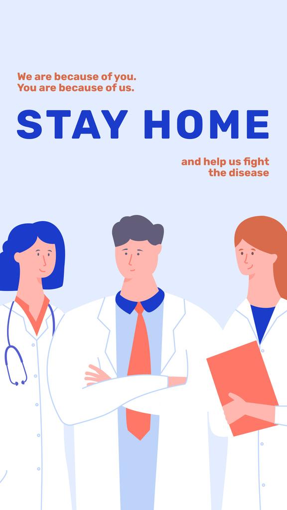 Plantilla de diseño de #Stayhome Coronavirus awareness with Doctors team Instagram Story