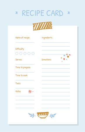 Recipe notes with Cute illustration of Plate Recipe Card Modelo de Design