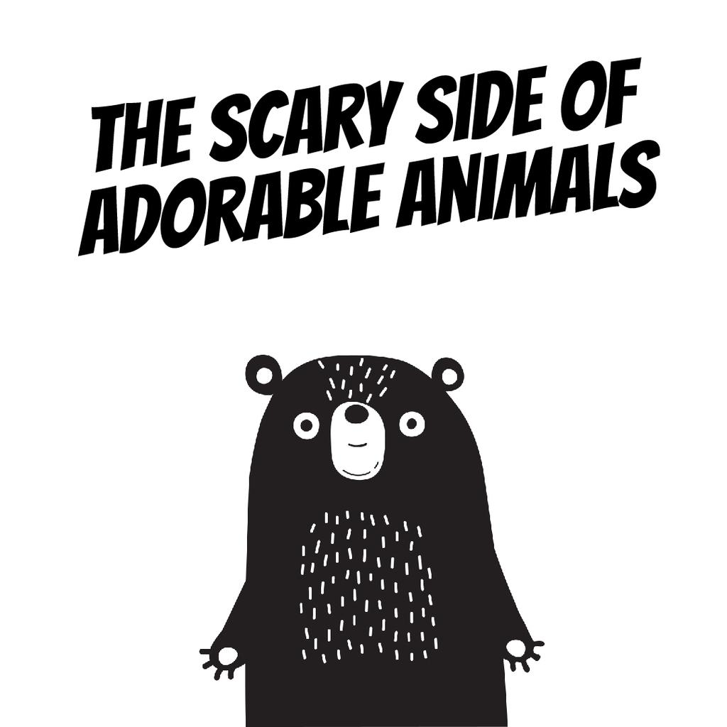Adorable Scary cartoon Bear — Crea un design