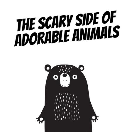 Plantilla de diseño de Adorable Scary cartoon Bear Animated Post