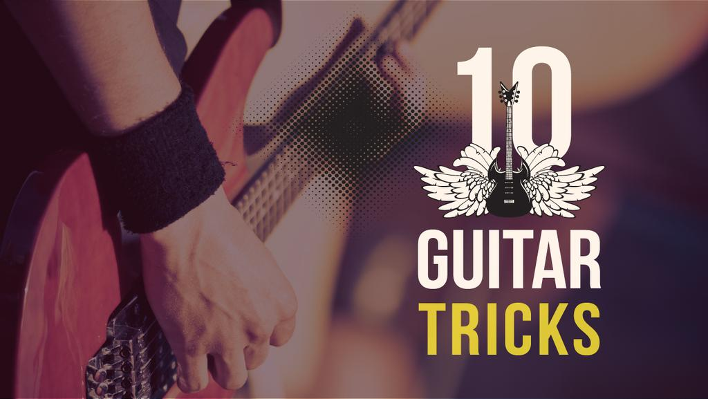 Guitar Tricks Ad Man Playing Guitar | Youtube Thumbnail Template — Створити дизайн