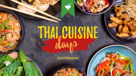Thai Cuisine Meal menu promotion FB event cover Modelo de Design
