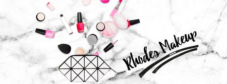 Beauty products filling cosmetic bag Facebook Video cover Design Template