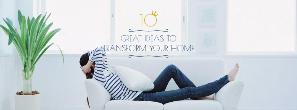 Real Estate Ad with Woman Resting on Sofa — ein Design erstellen
