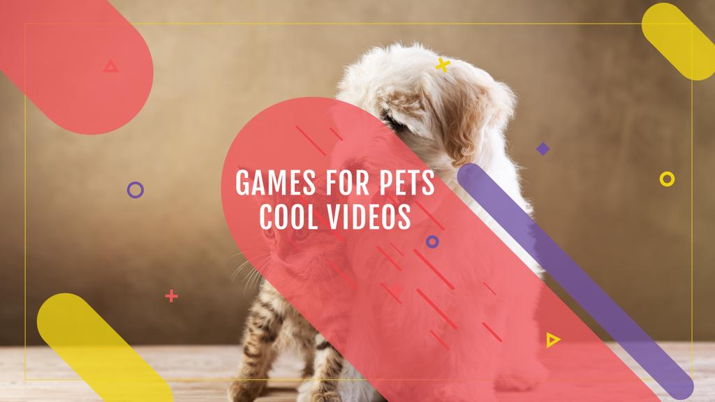 Games for Pets Cute Dog and Cat | Youtube Channel Art — Створити дизайн