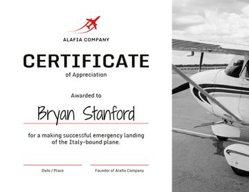 Plane Pilot Appreciation from airlines company