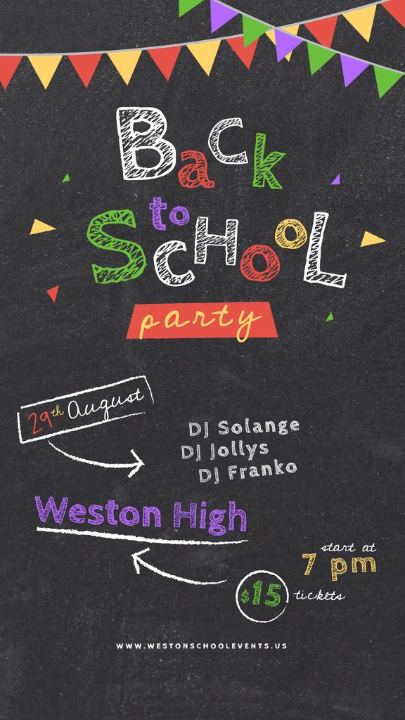 Back to School Party Inscription on Blackboard — Crea un design