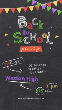 Back to School Party Inscription on Blackboard