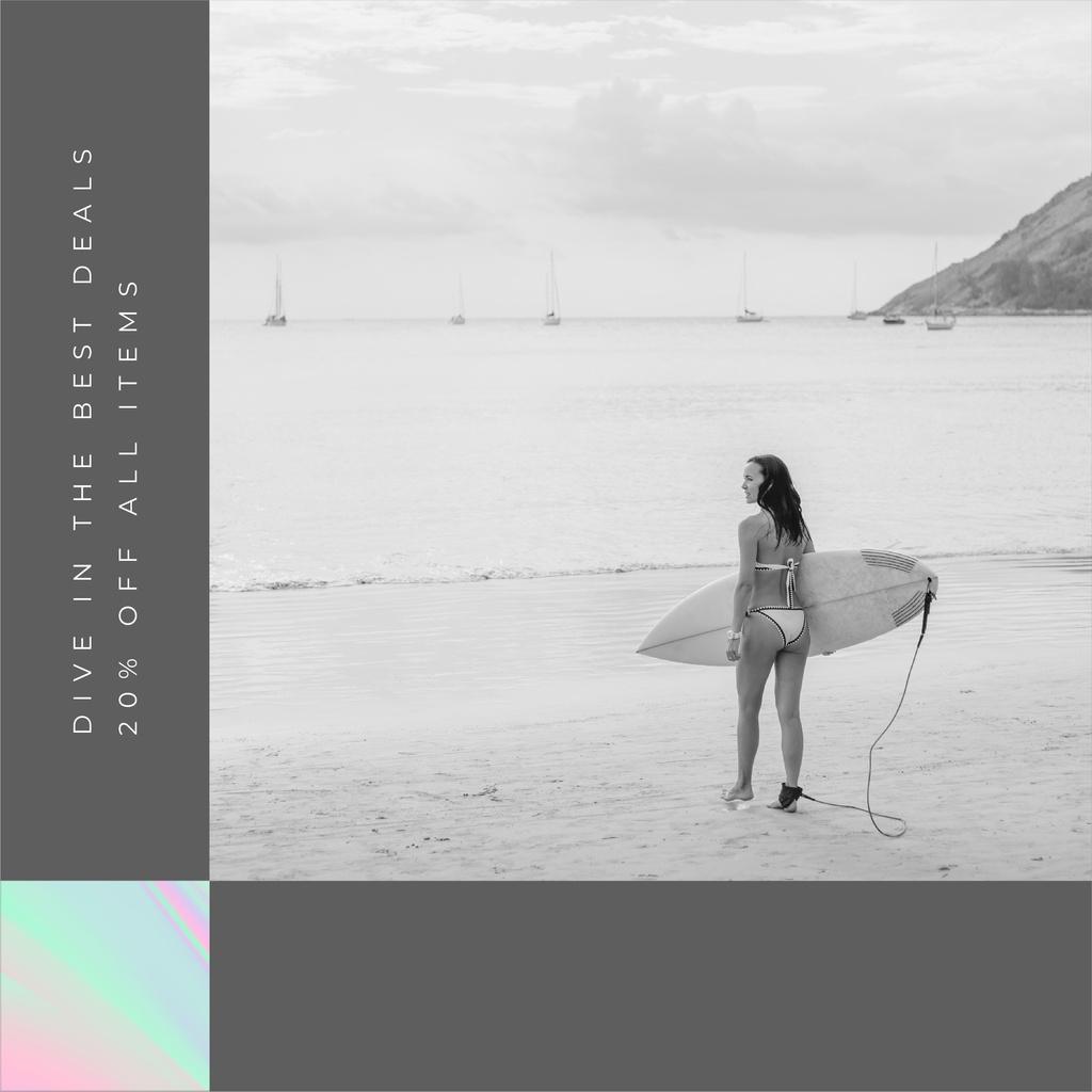 Shop Sale announcement Woman with Surfboard — Modelo de projeto