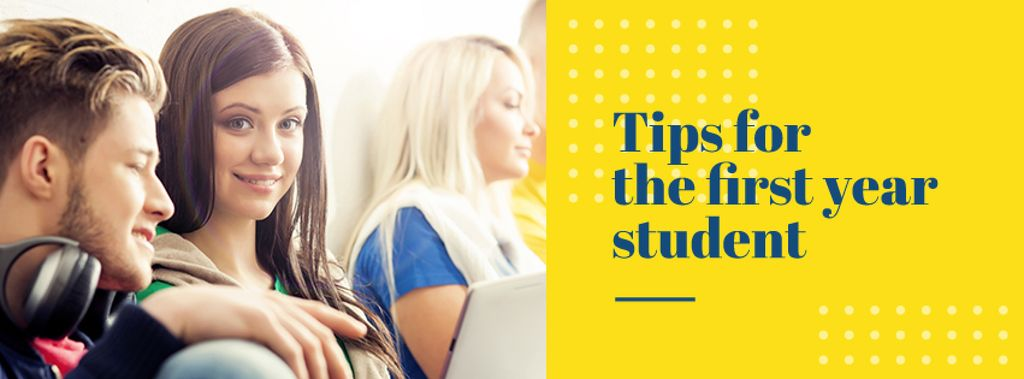 Tips for the first year student with smiling Girl — Crear un diseño