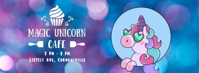 Ontwerpsjabloon van Facebook Video cover van Funny cute unicorn for cafe ad