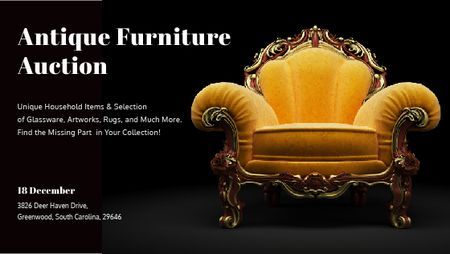 Antique Furniture Auction Luxury Yellow Armchair Titleデザインテンプレート