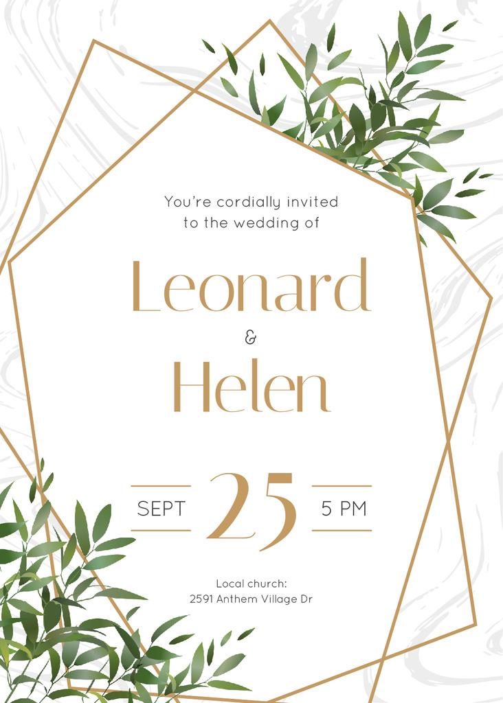 Wedding Invitation Elegant Floral Frame Invitationデザインテンプレート
