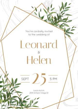 Wedding Invitation Elegant Floral Frame Invitation Modelo de Design