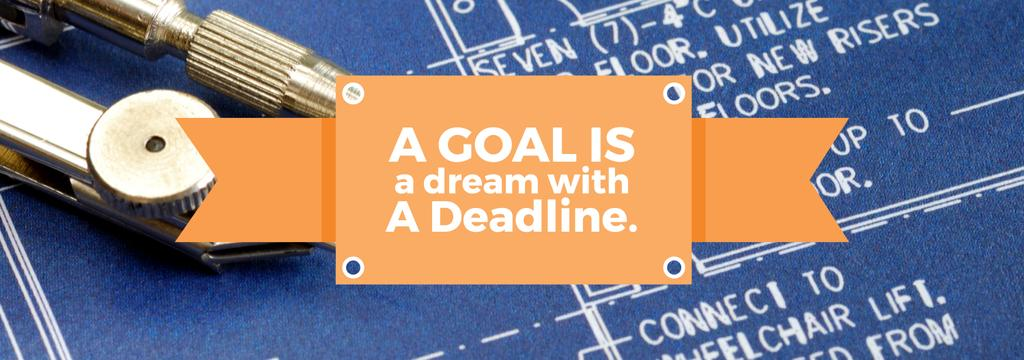 Goal Motivational Quote Blueprints and Compass — Create a Design
