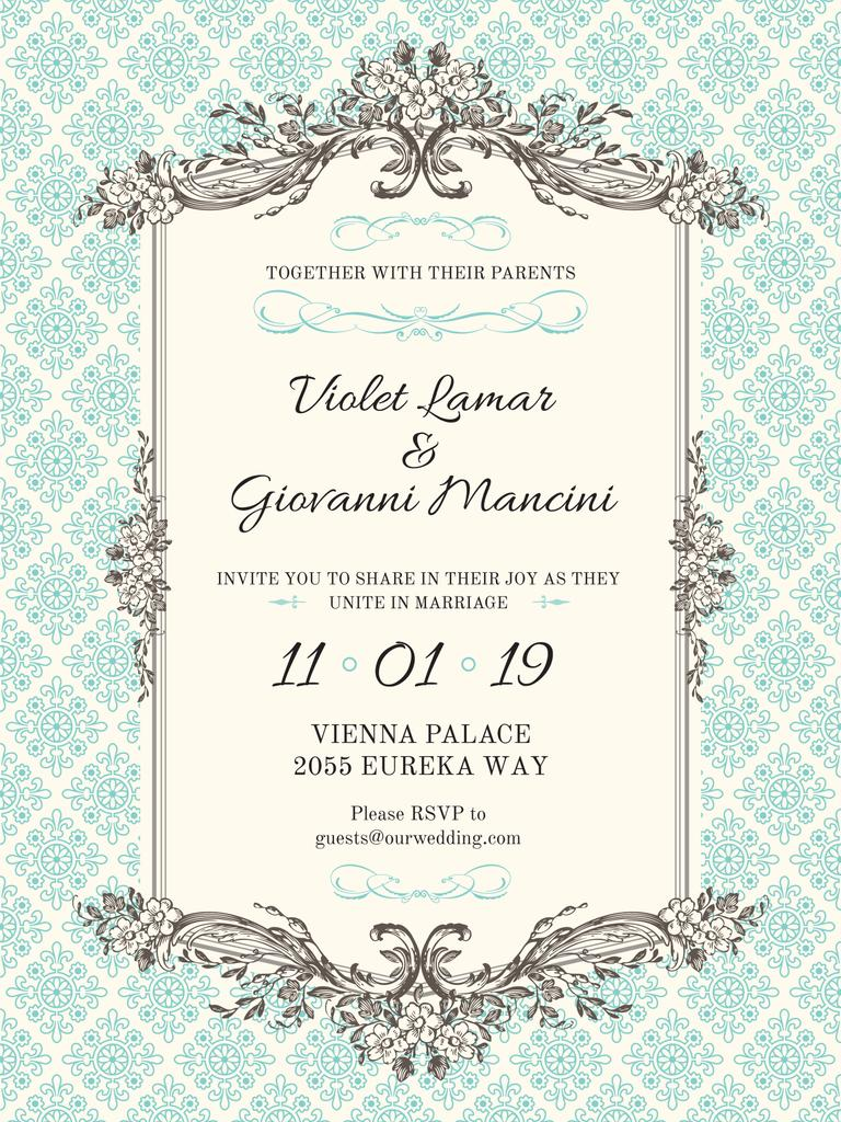 Wedding Invitation in Vintage Style in Blue — Створити дизайн