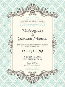 Wedding Invitation in Vintage Style Poster in Blue