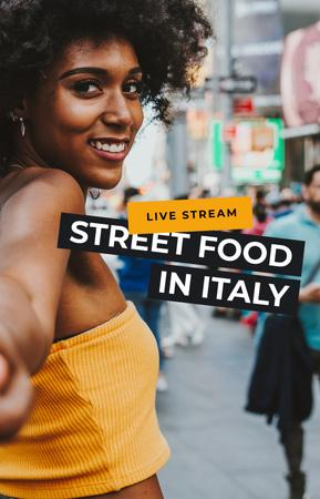 Woman discovering Street Food in Italy IGTV Cover Modelo de Design