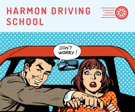 Plantilla de diseño de Driving school advertisement Large Rectangle