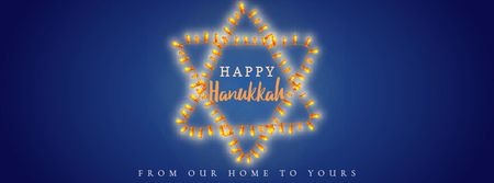 Happy Hanukkah greeting lights Facebook Video cover Modelo de Design