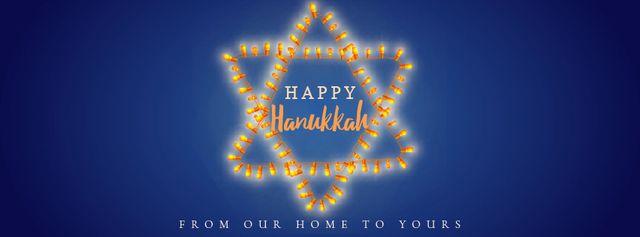 Modèle de visuel Happy Hanukkah greeting lights - Facebook Video cover