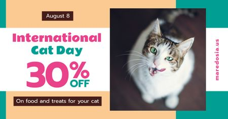 Cat Day Sale Cute Spotted Cat Facebook ADデザインテンプレート