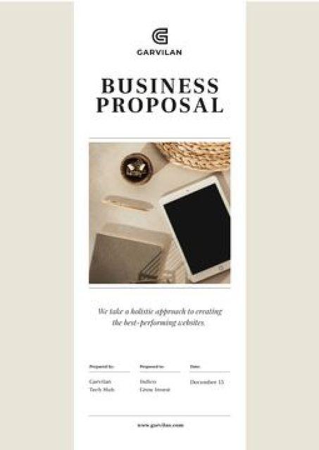 Plantilla de diseño de Website development services offer Proposal