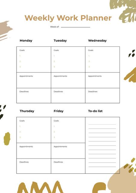 Weekly Work Schedule Planner Schedule Planner Design Template