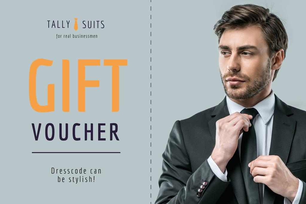 Suits Store Offer with Stylish Businessman —デザインを作成する