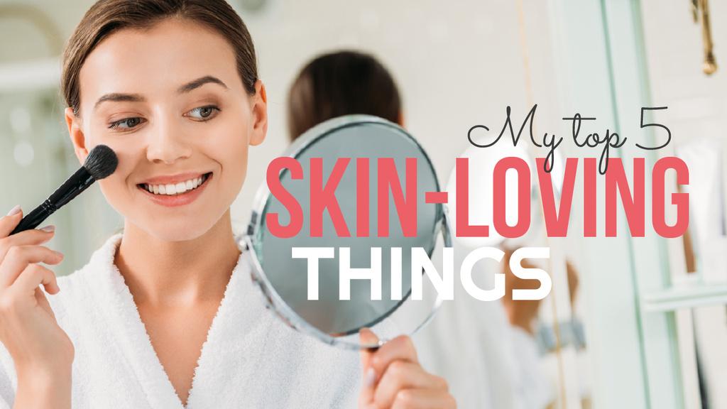 Beauty Blog Ad with Woman applying Brush — Modelo de projeto