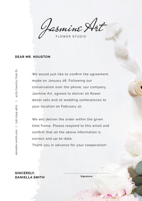 Flower Studio order confirmation Letterhead Design Template