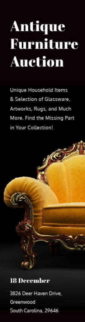 Antique Furniture Auction Luxury Yellow Armchair | Wide Skyscraper Template — Створити дизайн